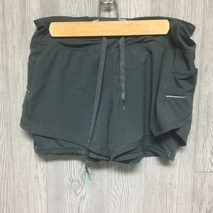 Women's Tangerine Gray Double Lined Workout Shorts